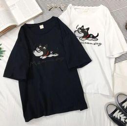 Estilo caliente verano 2019 pareja nueva camiseta de manga corta vigor chica letras cachorro suelta mujeres coreanas desde fabricantes