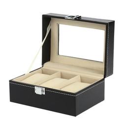 хранение наручных часов Скидка 3 слота кожаный дисплей дисплей коробка наручные часы держатель для хранения чехол организатор