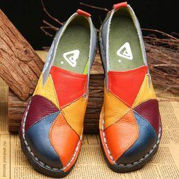 scarpe da ballo scarpe fatte a mano Sconti Donne Mocassini Mocassini Ballerina Scarpe Donna Vera Pelle Slip-on Ballet Flats Toe rotonda Handmade Flower Sapato