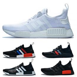 sports shoes 8bccb 22395 2019 NMD R1 Primeknit Laufschuhe Weiß Schwarz Rot Gelb Frankreich Olive  Atmos Männer Frauen Trainer Sport Designer Sneakers Größe 36-47