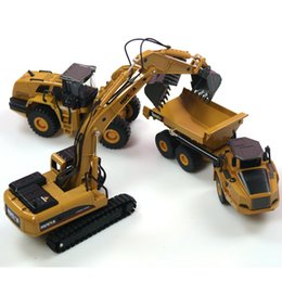 construction sets toys Coupons - 3PCS set HUINA 1:50 dump truck excavator Wheel Loader Diecast Metal Model Construction Vehicle Toys for Boys Gift Car Collection