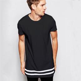 2019 camisetas en blanco de la moda Camiseta de hombre de moda Camiseta extendida Ropa de hombre Dobladillo curvado Línea larga Tops Camisetas Hip Hop Urban Blanco Camisetas blancas S-2XL rebajas camisetas en blanco de la moda