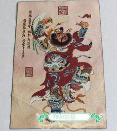 Pittura di seta appesa online-Tibet Buddista Thangka Thangka ricamo di seta ricamo broccato dipinto figura Zhongkui appeso come esorcismo