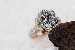 кольца обручальные Скидка Бесплатная доставка цветок лотоса кольцо 2ct Сона синтетический алмаз обручальные кольца для женщин тонкой серебряные ювелирные изделия 18k розовое золото отделка