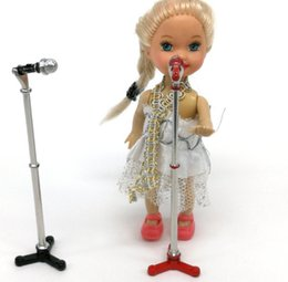1//12 Miniature Microphone Alloy Mic Stand Dollhouse Music Room Entertainment