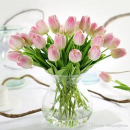 2019 künstliche tulpe blumen Heißer Verkauf Großhandel Tulip Künstliche Blumen Pu Hochzeit Decor Simulation Braut Bouquet Calla Real Touch Flores Para Hausgarten Kranz günstig künstliche tulpe blumen