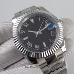 Data letras prata on-line-2019 Nova Chegada de Moda Cartas Romanas Data Maginifier Silver Relógio dos homens Automáticos Polido Médio Strap Polido Caso