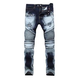 weiße farbige jeans für männer Rabatt 2019 die hohe Qualität Designer der neuen Männer tragen euro-amerikanischen High-Street-Stretch-Jeans Reißverschluss Löcher zweifarbige weiße Hosen