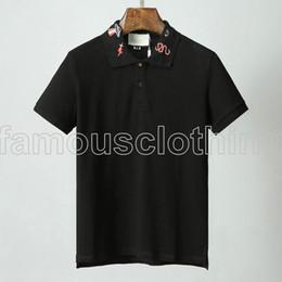 2019 diseñador de verano marca para hombre polo camiseta moda ropa de lujo camiseta bordado de oro tiger cat serpiente BEE animal cuello camiseta tee top desde fabricantes
