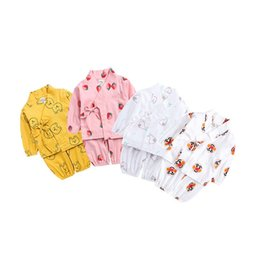 flower girl bear Coupons - Free DHL INS Toddler Baby Boys Girls Pajamas Clothing Suits Autumn Straps Sleepwear Cartoon Bear Pear Strawberry Chidlren Homewear Suits