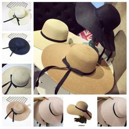 Cappelli di paglia di paglia delle signore online-Nuovo 2019 elegante versione coreana cappello di paglia protezione uv signore bowknot cappello da sole moda cupola cappello da spiaggia partito cappelliT2C5028
