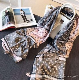 Bufanda de seda para Mujeres y Hombres Diseñador Caliente Dobladillos Bufandas Largas Envoltura Con Etiqueta 180x90Cm Mantones Collar Cintas para la cabeza desde fabricantes