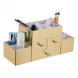 dresser box Coupons - Gold Mirrored Cosmetic Dresser Desktop Makeup Organizer Makeup Storage Box Container Nail Casket Holder Sundry Storage Case