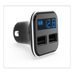 Cargadores de teléfonos celulares para vehículos online-4.8A Puerto Dual USB Vehículo Montado Adaptador de Cargador de Teléfono Celular Pantalla LED Monitor de Voltaje Cargador de Coche de Alta Calidad