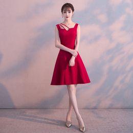 Abito da sera di seta abiti da sera online-2019 abito tradizionale cinese cheongsam da sposa rosso abito da sera in seta senza maniche vintage qipao abbigliamento cinese qi pao