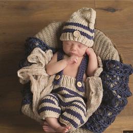 2019 roupas de malha para bebé recém-nascido Recém-nascidos Do Bebê infantil Meninas Meninos bonitos Crochet Malha Traje Foto Fotografia Prop Calças com Chapéu Outfit roupas 0-3 M Bebê desconto roupas de malha para bebé recém-nascido