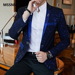 vestito blu da promenade collare nero Sconti Luxury Party Prom Blazer Shinny Yarn Vino Rosso Blu Nero Abito colletto a contrasto Dinner Blazer Homme Slim Fit Suit Coat Jacket