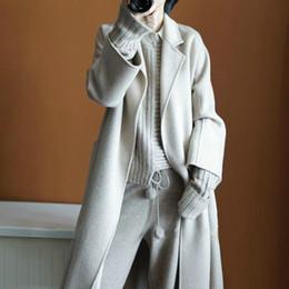 coreano design casacos de inverno Desconto Mulheres de Inverno de luxo artesanal de lã Coats Dupla Face 100% lã Robe estilo longo projeto Coats coreano Mulheres Casacos