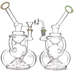 2019 riciclaggio dell'olio Riciclare bong dab rig oil rig riciclare gorgogliatore con ciotola o quarzo bagner giallo verde dab rigs bong acqua vetro sconti riciclaggio dell'olio