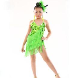 Vestidos de baile de lentejuelas rojas online-Vestido infantil de baile latino para niños, niñas, niños, baile de salón, vestidos para niños, lentejuelas, flecos rojos, borla de salsa