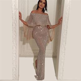 sequins robe de soirée split Promotion 2019 Arabe Robes De Soirée Sirène Paillettes Robe De Soirée De Longueur De Plancher Divisé De Longueur De Plancher Robe De Bal