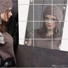 Espelhos para paredes de casa de banho on-line-reflexão de espelho quadrado Adesivo banheiro sittingroom home da parede decoração de superfície criativa adesivos de parede Espelho Wall Stickers