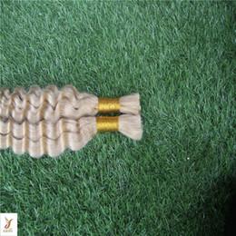 Fanglef Платиновый Блондин Цвет Бразильский Глубокая Волна Объемные Волосы Для Плетения 100% Человеческих Волос Для Плетения Массовая Без Вложения 100 г supplier hair attachments for braids от Поставщики прически для волос