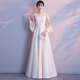 Robes de soirée blanches chinoises en Ligne-Blanc dentelle femmes robe traditionnelle chinoise partie Lady élégance Cheongsam robe de mariée Vintage demoiselle d'honneur soirée Qipao