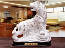 ceramica de tigre Rebajas Regalos artesanales Adornos LoveZodiac Zhaocai Town House Adornos de cerámica de tigre Fengshui artesanía Porcelana blanca Regalo de apertura de sala de estar
