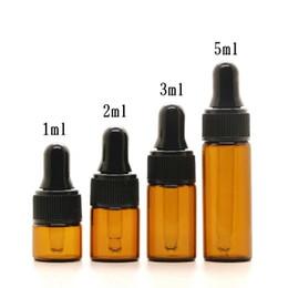 frasco de óleo por atacado Desconto Atacado 5 ml Amber vidro conta-gotas garrafas w / tampa Preta, frasco de óleo essencial, pequenos frascos de Perfume, armazenamento de Amostragem