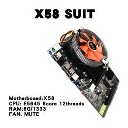 x58 motherboards Rabatt X58 Desktop PC Hauptplatine LGA 1366 E5645 6core 12 Threads CPU + 8G Speicher + Mute Fan Computer Hauptplatine DDR3 RAM