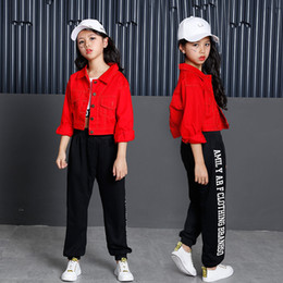 245c342a8395 Kids Hip Hop Clothing Ballroom Dance Clothes for Girls Jazz Dance Costumes  Denim Coat Crop Tank Tops Pants Streetwear Dancewear