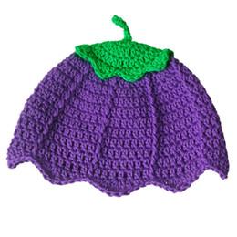 Crochet del cappello viola del bambino online-Cappello bimba melanzana viola lavorata a mano, cappello lavorato a mano bimba bambina ortaggio vegetale, cuffia di pasqua neonato adorabile, puntello foto neonato