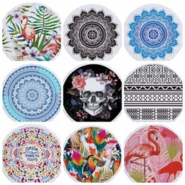 compressed beach towels Coupons - Indian Mandala Beach Towel Round Beach Blanket Polyester Printing Tapestry Yoga Mat Summer Picnic Rug Serviette De Plage 69 Designs YW3774