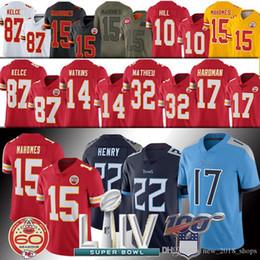 camisas de rugby da faculdade Desconto Super Bowl LIV Kansas City 15 Patrick Mahomes chefe Derrick Henry Jersey Travis Kelce Mecole Hardman Tyreek Hill Mathieu
