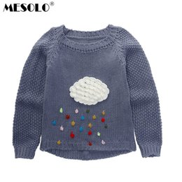 37afcfb35 good quality 2019 autumn new children's clothing han edition cartoon clouds  rain thick knit sweater pullovers female children C1