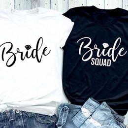 pelotão da moda Desconto Moda Tee Estética Camisas Gráficas Noiva Carta De Diamante Impresso T-Shirt Da Noiva Diamante Squad Coupled Tops Feminista Presente De Algodão