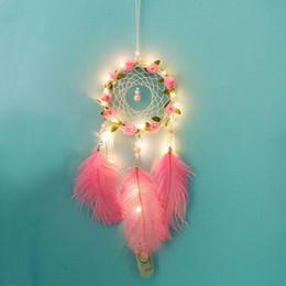 cristais de canto Desconto Novo Criativo Multicolor Beads Handmade Floral Dream Catcher Com Luzes Decoração Presentes New Handmade Dream Catcher