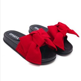 e5eec47d8 Red pink green black Slippers Women Summer Bow Summer Sandals Slipper  Indoor Outdoor Flip-flops Beach Shoes Female Fashion Shoes
