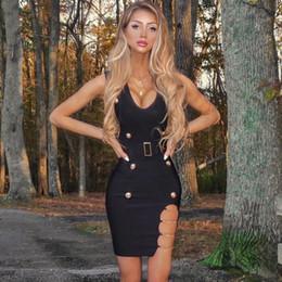 Elástico vestido bandage malha on-line-Novo Estilo de Verão Sexy V Neck Cadeia Bandage Vestido Preto 2019 Malha Elastic Party Dress