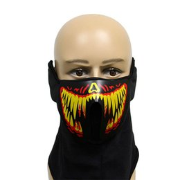 music mask Coupons - halloween LED Masks Clothing Big Terror Masks Cold Light Helmet Festival Party Glowing Dance Steady Voice activated Music Mask