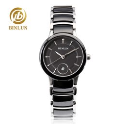 Bandas de relógio de tungstênio on-line-BINLUN 2019 Moda de tungstênio cerâmica banda relógios das mulheres relógio de quartzo impermeável e resistente a riscos relógios de pulso desportivo