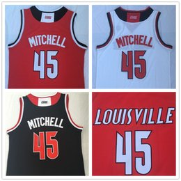 Camisas de basquete preto on-line-NCAA Men # 45 Donavan Mitchell Louisville Cardinals Basketball Jerseys Red Black White faculdade camisas costurado patches bordados