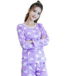 La primavera e l'autunno nuove donne pigiama manica lunga + pantaloni 2 set di indumenti da notte pigiameria casuale dolce ragazza studente vestito da top bikini sexy caldi fornitori