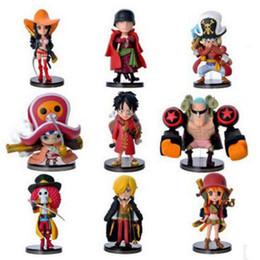 2019 uma peça figuras boa Boa qualidade 9 PCS Set One Piece Escritório modelo de decoração Figuras de Ação PVC Anime Brinquedos Japonês Boneca Dos Desenhos Animados Brinquedos Frete Grátis desconto uma peça figuras boa