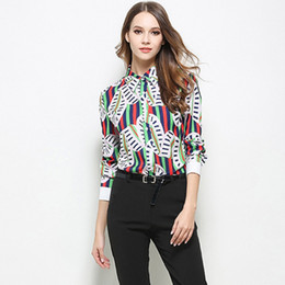 50cf5af779e Long Sleeve Chiffon Blouse Striped Tee Casual Print Blouse Clothing Slim  New Design Fashion Printed Shirt Top