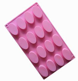 Moldes ovais on-line-16 cavidade oval bolo de chocolate moldes de geléia moldes de chocolate moldes de sabão moldes de cozimento de silicone ferramenta bakeware