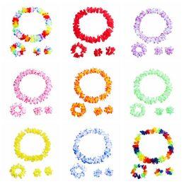 12 pomander de rosa Desconto Flores coloridas havaianas Tropical Flor Garland Colar Pulseiras Headband set 4 pcs Tropical Beach Costume Party Decorações Suprimentos