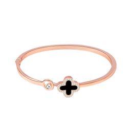 Cuatro hojas de hierba pulsera de oro rosa pulsera mano adorno pulsera reloj accesorios de joyería adornos desde fabricantes