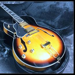 Guitares électriques à corps creux gauche en Ligne-2019 New Full Body creux main gauche guitare électrique 22 frettes Brydland Style Grover Tuner Gold Hardware